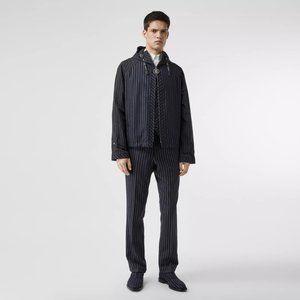 Burberry | US40/EU50 Pinstriped Wool Hooded Jacket
